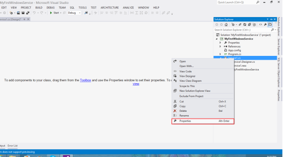 Select Property for Service.cs file from solution explorer